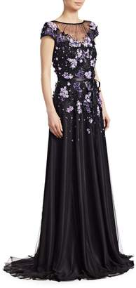 Theia Embellished Cap-Sleeve Gown