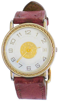 One Kings Lane Vintage HermAs Sellier Watch with Ostrich Strap - The Emporium Ltd.