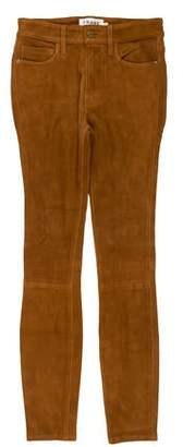 Frame Leather Mid-Rise Pants