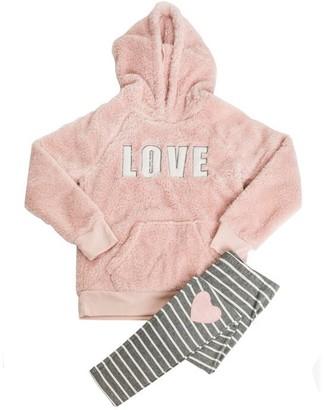 PJ Salvage Kids Pajama Set Playful PLUSH LOVE PINK Large Size 6
