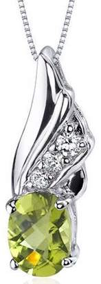 "Oravo 1.25 Carat T.G.W. Oval-Shape Peridot Rhodium over Sterling Silver Pendant, 18"""