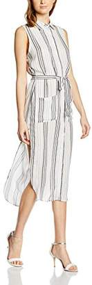 Glamorous Women's Sleeveless Dress, (White Patterned Stripe), 8 (Size:X-Small)
