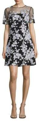 Tadashi Shoji Embroidered Floral Illusion Dress