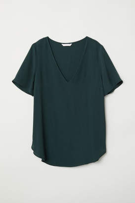 H&M Short-sleeved Viscose Blouse - Green