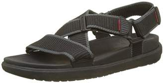FitFlop Men's Sling II Back-Strap Sandals in Webbing Open Toe (Black/Charcoal), 44 EU
