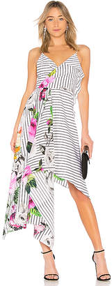 Off-White Draped Floral Dress