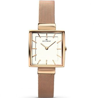 Accurist Ladies Analogue Watch with White Dial andローズゴールドブレスレット8132