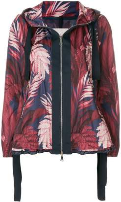 Moncler foliage print hooded jacket