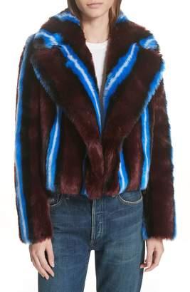 Diane von Furstenberg Stripe Faux Fur Jacket