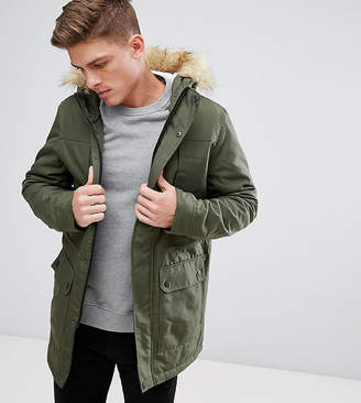 ONLY & SONS Parka With Faux Fur Borg Lined Hood
