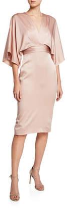 Theia V-Neck Kimono-Sleeve Satin Dress