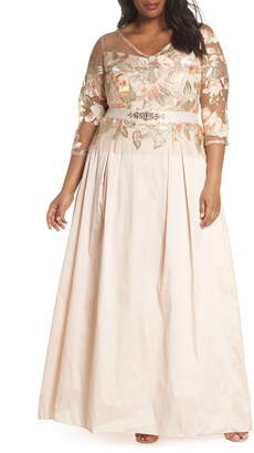 Adrianna Papell Floral Embroidered Gown