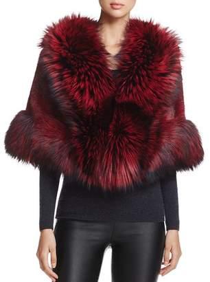 Maximilian Furs Maximilian Feathered Saga Fox Fur-Trim Mink Cape