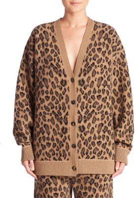 Alexander Wang Leopard-Print Wool & Cashmere V-Neck Cardigan