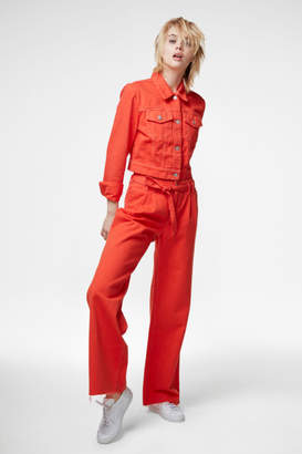 J Brand Tie-Waist Pant In Bright Coral
