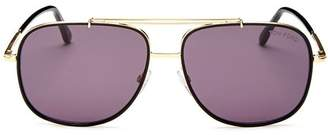 Tom Ford Men's Vintage-Luxe Brow Bar Aviator Sunglasses, 58mm