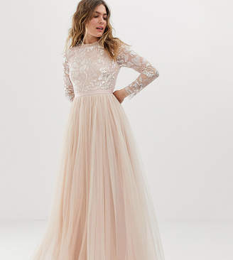 Needle & Thread embellished long sleeve maxi dress with tulle skirt in rose quartz