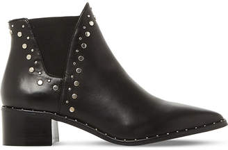 Steve Madden Ladies Black Asymmetric Stylish Doruss Sm Leather Studded Ankle Boots