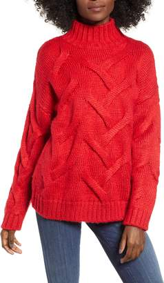 Love By Design Cable Mock Neck Sweater
