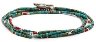 M. Cohen Bead Embellished Sterling Silver Wrap Bracelet - Mens - Green Multi