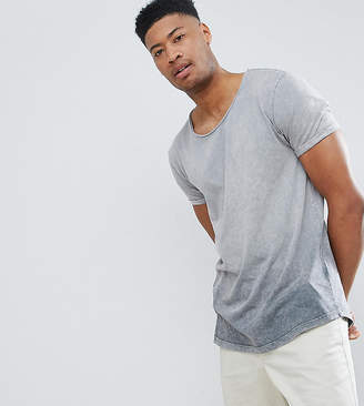Asos DESIGN Tall relaxed longline t-shirt with scoop neck and curved hem in ombre acid wash