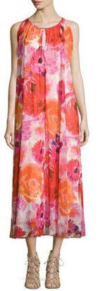 Fuzzi Sleeveless Floral-Print Box-Pleated Dress $545 thestylecure.com