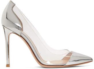 Gianvito Rossi Silver Patent Plexi Heels