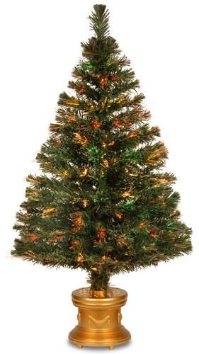 The Holiday Aisle Fiber Optics Evergreen Firework 4″ Green Artificial Christmas Tree with Multicolor Lights with Base