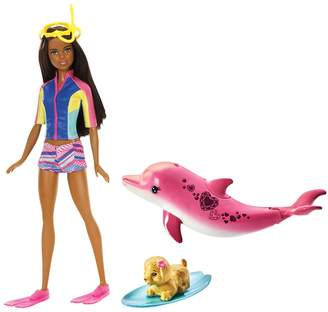 Barbie Brunette Hair Dolphin Magic Snorkel Fun Friends