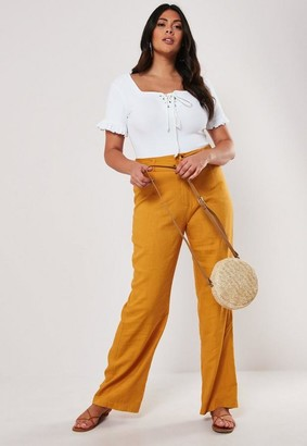 Missguided Size Mustard Linen Blend Belted Trousers