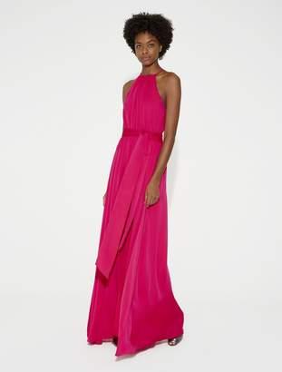 Halston Flowy Georgette Gown with Sash