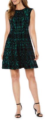Danny & Nicole Sleeveless Flocked Velvet Scroll Fit & Flare Dress