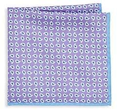 Ike Behar Men's Purple Paisley Pocket Square
