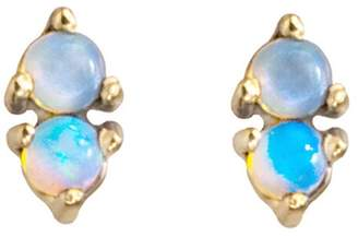 WWAKE Two-Step Opal Stud Earrings