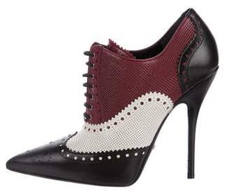 Gucci Brogue Pointed-Toe Booties