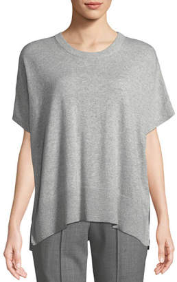 Michael Kors Crewneck Short-Sleeve Melange Draped Cashmere Pullover