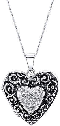 FINE JEWELRY Inspired Moments Sterling Silver Heart Locket Pendant Necklace