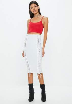Missguided White Lace Up Ribbed Midi Skirt, White