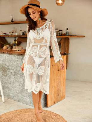 Shein Mesh Embroidered Sheer Tunic Cover Up