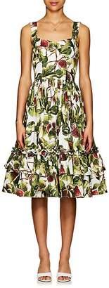 Dolce & Gabbana Women's Fig-Print Cotton Poplin Tiered Midi-Dress