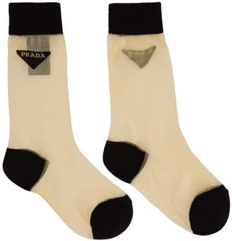 Prada Beige Mesh Logo Socks