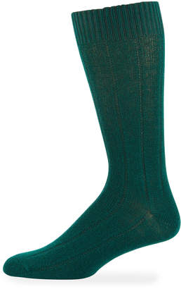 Neiman Marcus Men's Cashmere Dress Socks, Green