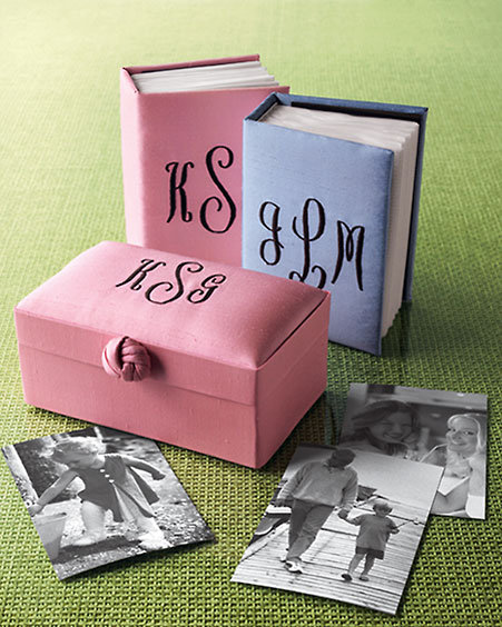 Monogrammed Silk Doupioni Photo Box & Album