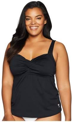 TYR Plus Size Solid Twisted Bra Tankini Women's Swimwear