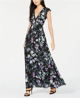 Bar III Floral-Print Belted Dress, Created for Macy's