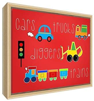 Camilla And Marc Feel Good Art Eco-Printed & Framed Nursery Canvas with solid Natural Wooden Frame Cars, Trucks, Diggers, Trains White, 44 x 34 x 3cm (Medium)