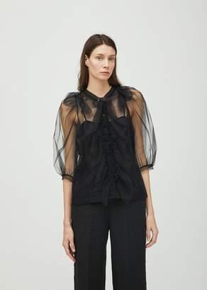 Simone Rocha Tulle Ruffle Front Blouse Black
