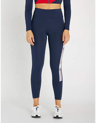 Tommy Hilfiger Logo-stripe high-rise stretch-jersey leggings