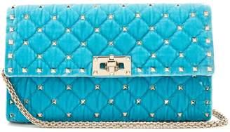 Valentino Rockstud Spike quilted-velvet clutch