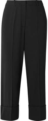 Michael Kors Cropped Wool Straight-leg Pants - Black